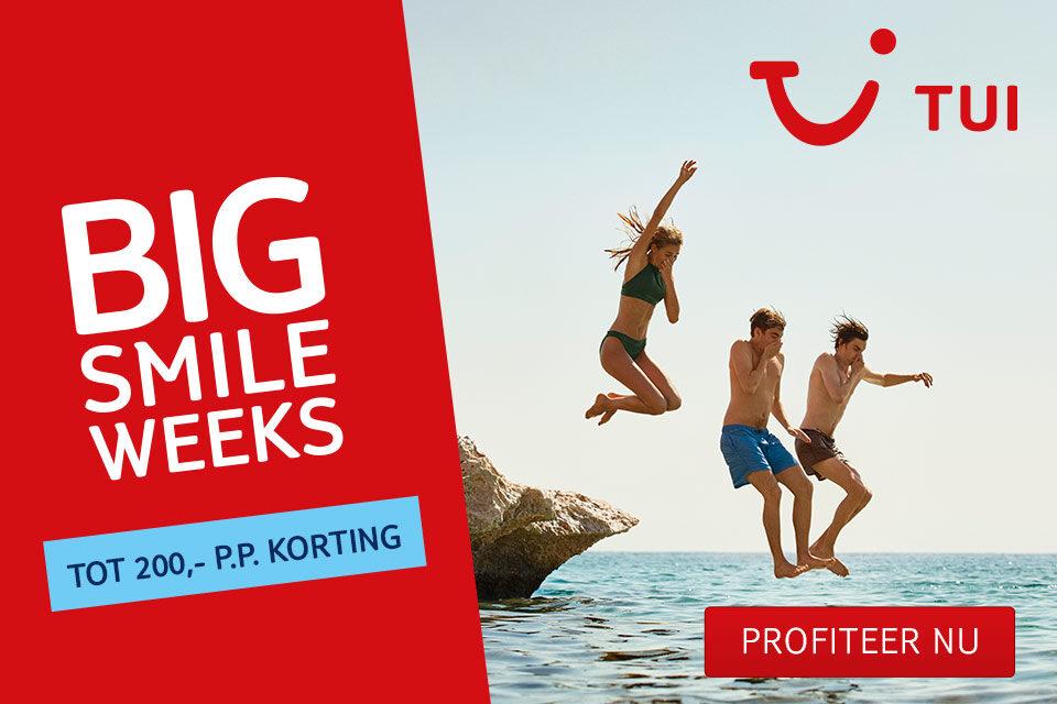TUI Big Smile Weeks 2019 | tot €200,- korting op een vakantie naar keuze